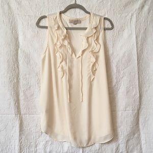 LOFT sleeveless blouse with ruffle and ties